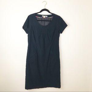 Boden navy corduroy sheath dress stitch detail